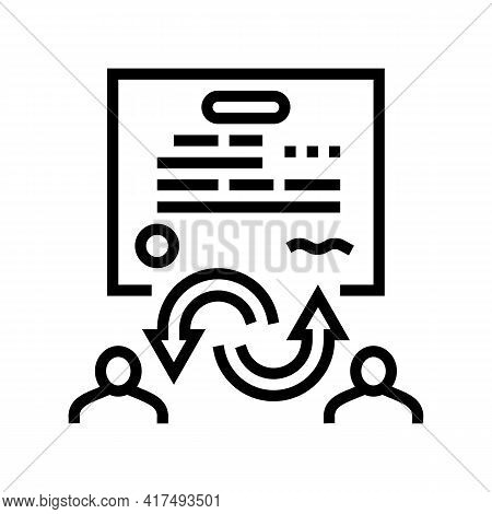 Power Of Attorney Law Dictionary Line Icon Vector. Power Of Attorney Law Dictionary Sign. Isolated C