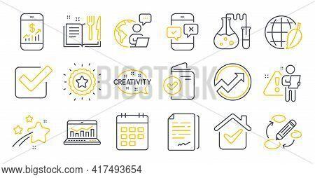 Set Of Education Icons, Such As Audit, Recipe Book, Phone Survey Symbols. Document Signature, Checkb