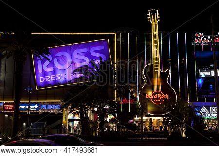 Las Vegas, Nevada / Usa - August 27, 2015: Hard Rock Cafe In Las Vegas, Nevada, Usa
