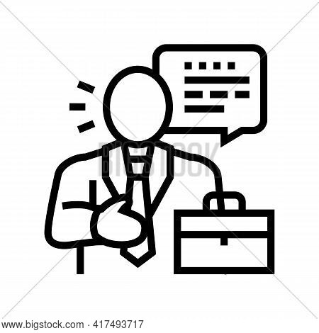 Lawyer Man Line Icon Vector. Lawyer Man Sign. Isolated Contour Symbol Black Illustration