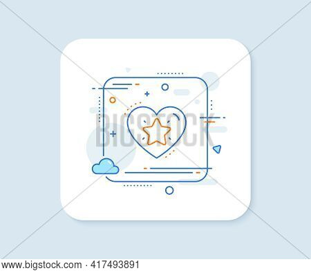 Ranking Star Line Icon. Abstract Square Vector Button. Love Rating Sign. Best Rank Symbol. Ranking S
