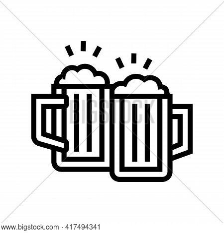 Drink Beer Mens Leisure Line Icon Vector. Drink Beer Mens Leisure Sign. Isolated Contour Symbol Blac