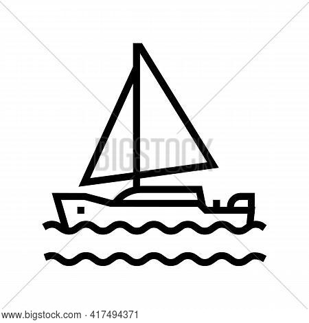 Yacht Mens Leisure Line Icon Vector. Yacht Mens Leisure Sign. Isolated Contour Symbol Black Illustra