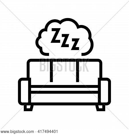 Sleeping Mens Leisure Line Icon Vector. Sleeping Mens Leisure Sign. Isolated Contour Symbol Black Il