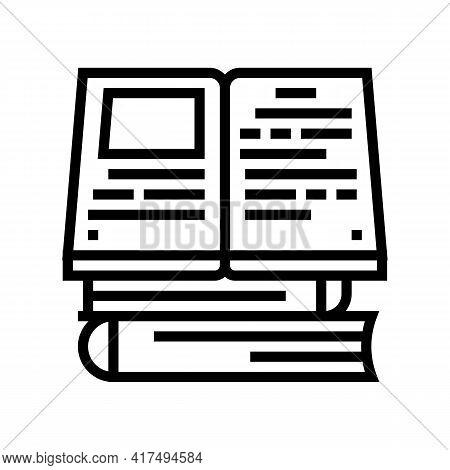 Reading Books Mens Leisure Line Icon Vector. Reading Books Mens Leisure Sign. Isolated Contour Symbo