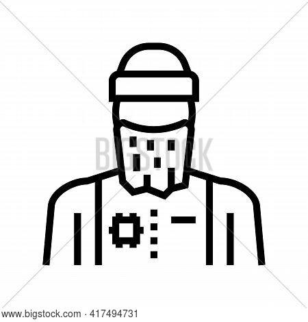 Man Refugee Line Icon Vector. Man Refugee Sign. Isolated Contour Symbol Black Illustration