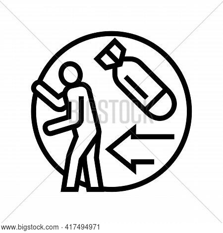 Escape From War Refugee Line Icon Vector. Escape From War Refugee Sign. Isolated Contour Symbol Blac