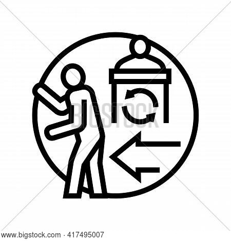 Political Persecution Refugee Line Icon Vector. Political Persecution Refugee Sign. Isolated Contour