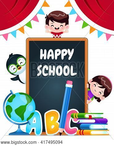 Illustration Vector Graphic Of Cartoon Happy School Children And Penguin. Perfect For Mascot, Childr