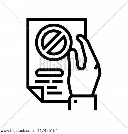 Denial Of Entry Refugee Line Icon Vector. Denial Of Entry Refugee Sign. Isolated Contour Symbol Blac