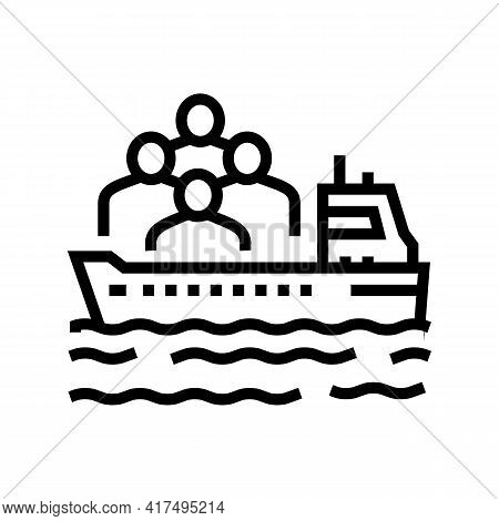 Ship Transportation Refugee Line Icon Vector. Ship Transportation Refugee Sign. Isolated Contour Sym