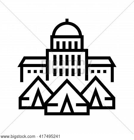 Government Building Refugee Campground Line Icon Vector. Government Building Refugee Campground Sign