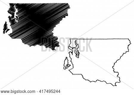 King County, State Of Washington (u.s. County, United States Of America, Usa, U.s., Us) Map Vector I