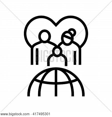 Family Refugee World Aid Line Icon Vector. Family Refugee World Aid Sign. Isolated Contour Symbol Bl