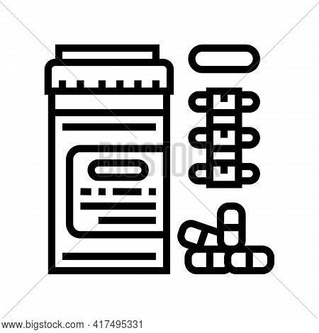 Pain Reliever Pills Scoliosis Line Icon Vector. Pain Reliever Pills Scoliosis Sign. Isolated Contour