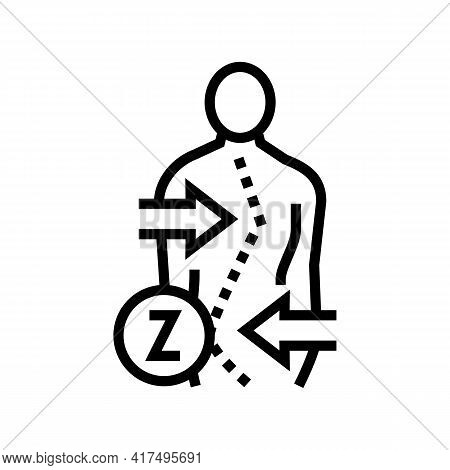 Z-shaped Scoliosis Line Icon Vector. Z-shaped Scoliosis Sign. Isolated Contour Symbol Black Illustra