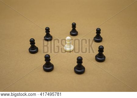 Social Distancing. Chess Piece Stay Apart To Reduce Covid 19 Virus Infection. Maintain Social Distan