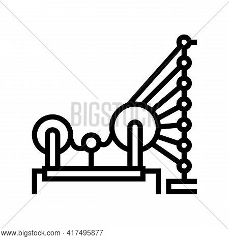 Weaving And Warping Cotton Machine Line Icon Vector. Weaving And Warping Cotton Machine Sign. Isolat