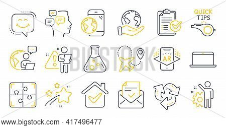 Set Of Technology Icons, Such As Puzzle, Augmented Reality, Survey Checklist Symbols. Mobile Interne