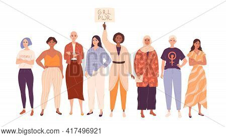 Group Of Diverse Women In Full Length. Beautiful Stylish Girls, Feminists And Protesters