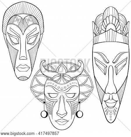 Set Of Three African Ethnic Masks. African, American, Tribal, Aztec Style. Line Art Hand Drawn Isola