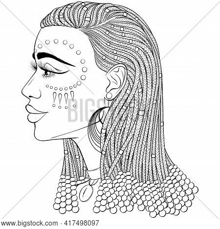 African Beauty, Profile Of The Beautiful Black Woman With African Braids. Vector Line Art Hand Drawn