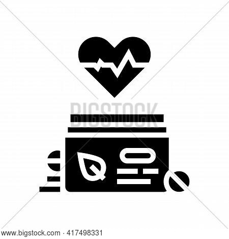 Heart Treatment Homeopathy Pills Glyph Icon Vector. Heart Treatment Homeopathy Pills Sign. Isolated
