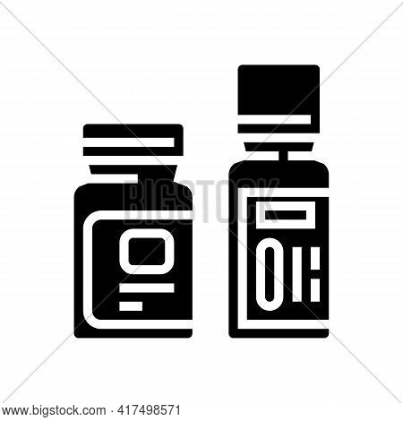 Bottles With Homeopathy Medical Drug Glyph Icon Vector. Bottles With Homeopathy Medical Drug Sign. I