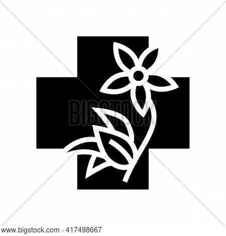 Flower Natural Homeopathy Medicine Glyph Icon Vector. Flower Natural Homeopathy Medicine Sign. Isola