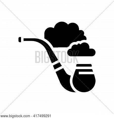 Smoking Pipe Mens Leisure Glyph Icon Vector. Smoking Pipe Mens Leisure Sign. Isolated Contour Symbol