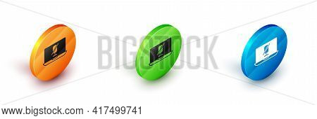 Isometric Mute Microphone On Laptop Icon Isolated On White Background. Microphone Audio Muted. Circl