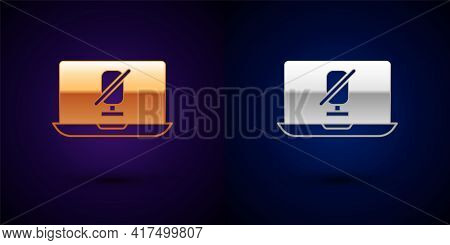 Gold And Silver Mute Microphone On Laptop Icon Isolated On Black Background. Microphone Audio Muted.