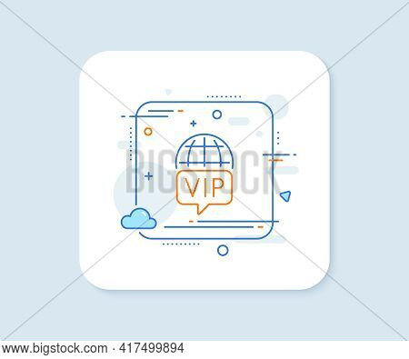 Vip Internet Line Icon. Abstract Square Vector Button. Very Important Person Wifi Access Sign. Membe