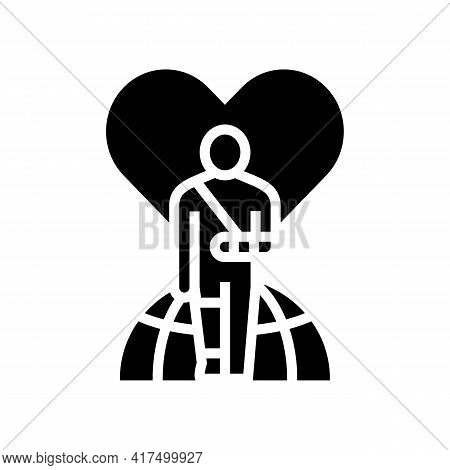 Invalid Patient Refugee World Help Glyph Icon Vector. Invalid Patient Refugee World Help Sign. Isola
