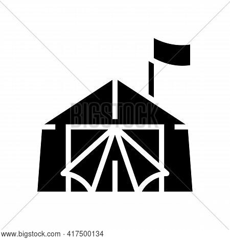 Tent Refugee Glyph Icon Vector. Tent Refugee Sign. Isolated Contour Symbol Black Illustration