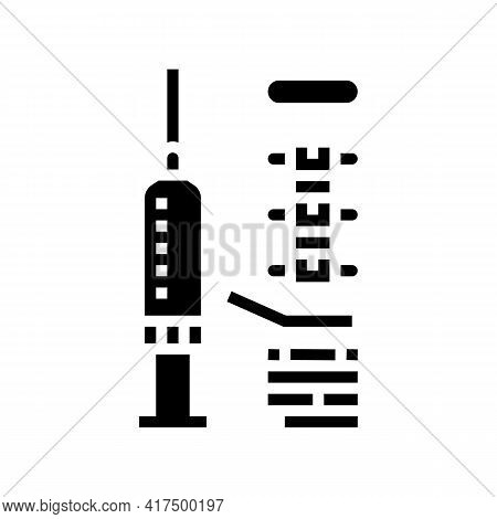 Injection Scoliosis Treat Glyph Icon Vector. Injection Scoliosis Treat Sign. Isolated Contour Symbol