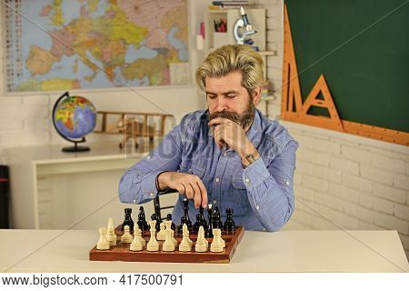 Chess Is Gymnasium Of Mind. Chess Lesson. Strategy Concept. School Teacher. Board Game. Smart Hipste