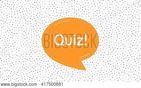 Quiz Symbol. Orange Speech Bubble On Polka Dot Pattern. Answer Question Sign. Examination Test. Dial