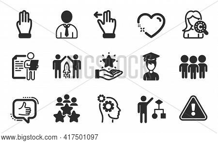 Like, Group And Three Fingers Icons Simple Set. Job Interview, Loyalty Program And Student Signs. Hu