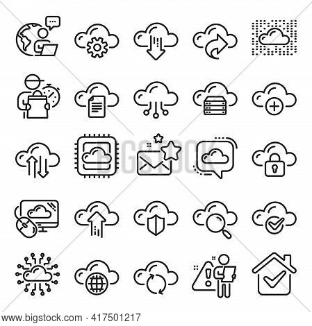 Cloud Data And Technology Line Icons. Set Of Hosting, Computing Data And File Storage Icons. Archive
