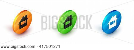 Isometric Video Camera Off In Home Icon Isolated On White Background. No Video. Circle Button. Vecto