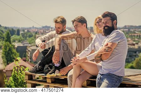 Hang Out Together. Youth Relaxing. Summer Leisure. Carefree Concept. Summer Rest. Spending Time With