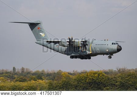 Budapest, Hungary - October 7, 2018: Turkish Air Force Airbus Military A400m Atlas 15-0051 Military