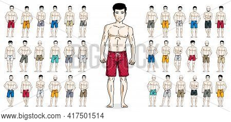 Handsome Men In Beach Shorts Standing And Posing Vector Illustrations Big Set Isolated On White, Att