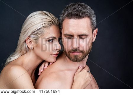 Expressing Feelings. Passion And Desire. Sensual Woman Embrace Naked Man.