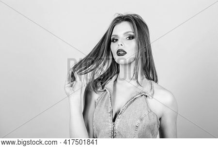 Volume Beauty. Hairdresser Salon. Beautiful Woman With Luxury Hair. Sexuality. Skincare Cosmetics. F