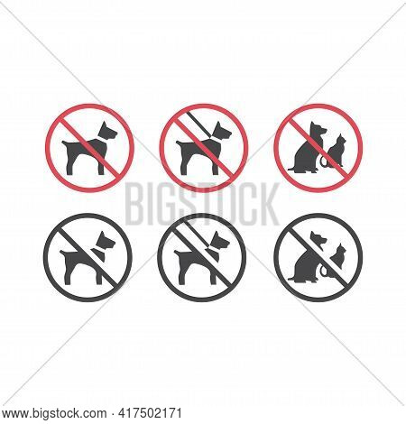 No Pets Red Prohibition Vector Sign. Dogs On A Leash And Pets Not Allowed Icon.