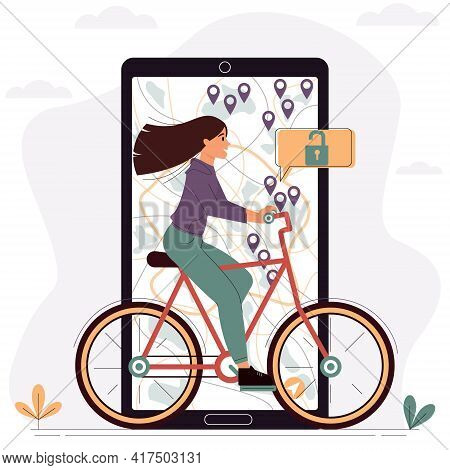 Young Woman Rides A Rented Bike Around The City. Vector Illustration For Mobile Application For Rent