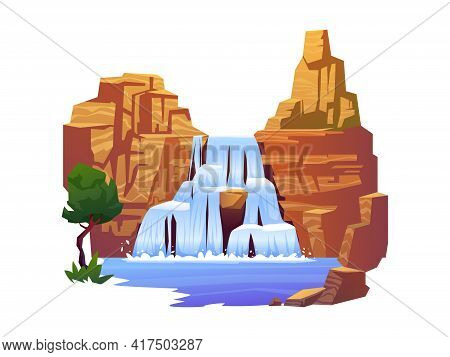 Nature And Flow Landscape, Rocky Mountains And Exotic Tree Isolated. Waterfall, Falling River Water