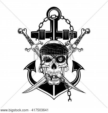 Drawing Of A Pirate's Skull On The Background Of An Anchor And Crossed Sabers. Vector Illustration F